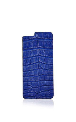 Cobalt Crocodile Iphone 6 Leather Back by VALENTINE GOODS Now Available on Moda Operandi
