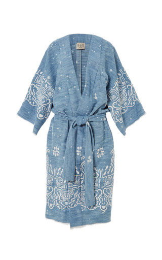 Medium sea blue embroidered hand bleach denim embroidered kimono