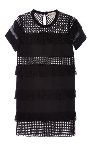 Medium sea black black fringed cotton t shirt dress
