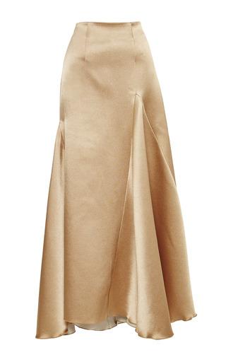 Medium ellery tan wolfgang high waist flute skirt with godet