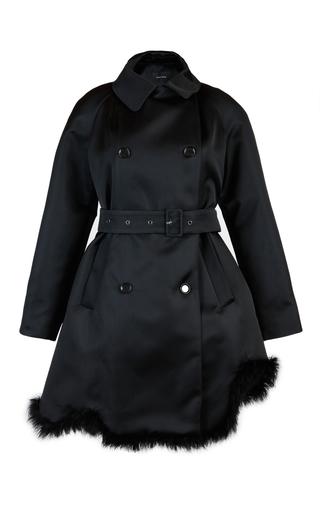 Medium simone rocha black duchess satin marabou coat