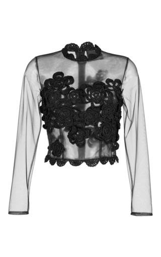 Medium simone rocha black hand crocheted long sleeve tulle top