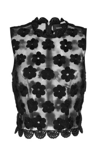 Medium simone rocha black black embroidered floral top with crochet trim