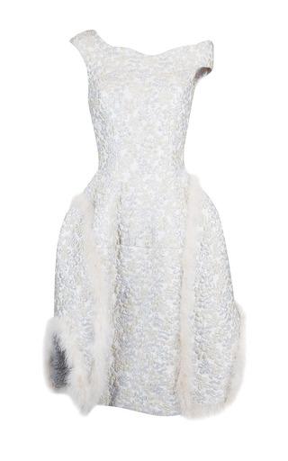 Medium simone rocha metallic metallic cloque marabou off shoulder dress