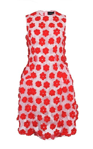 Medium simone rocha red red embroidered floral dress with crochet trim 2