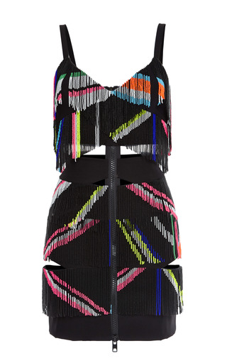 Medium preen black ted satin teru dress in black and fluoro fringe