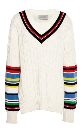Medium preen ivory knitted cotton blythe jumper in ivory and multi 2