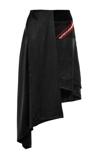 Medium preen black sandwashed silk turkana skirt in black and fringe