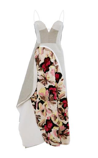 Medium marni pink cotton linen canvas sleeveless dress in floral multi