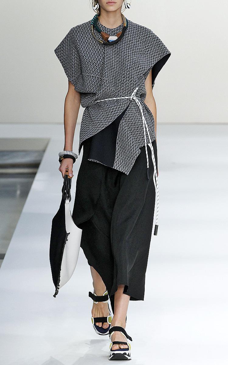 compact knit grain de fleurs short sleeve top by marni