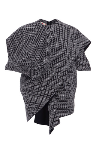 Medium marni print compact knit grain de fleurs short sleeve top