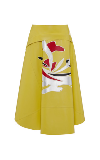 Medium marni red nappa stone floral leather skirt in yellow multi