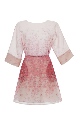 Medium blumarine pink pink petal print organza dress
