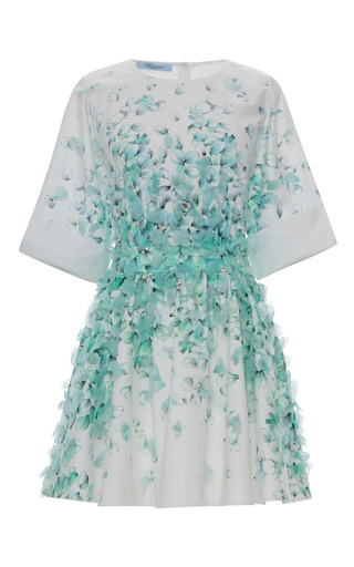 Medium blumarine print petal print cotton shirt dress with petal embroidery