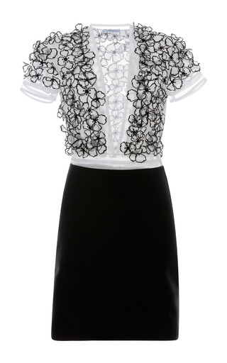 Medium blumarine black flower embellished v neck combo dress