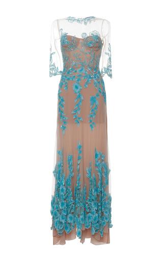 Medium blumarine blue flower sequined long tulle dress