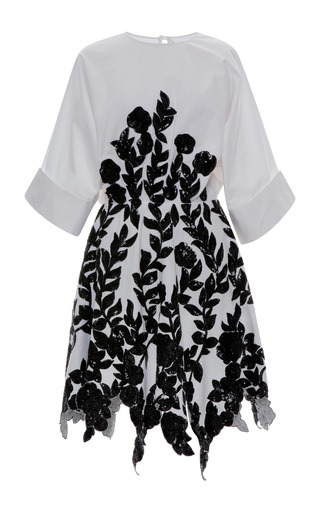 Medium blumarine black cotton shirt dress with sequined flowers