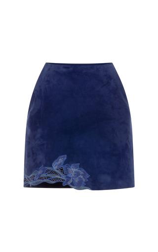 Medium blumarine purple embroidered goat leather skirt