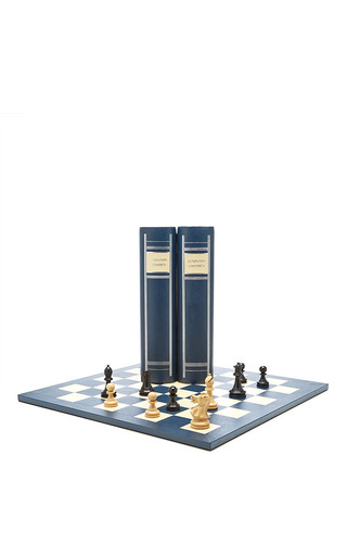 Medium geoffrey parker blue staunton chess book boxes 2