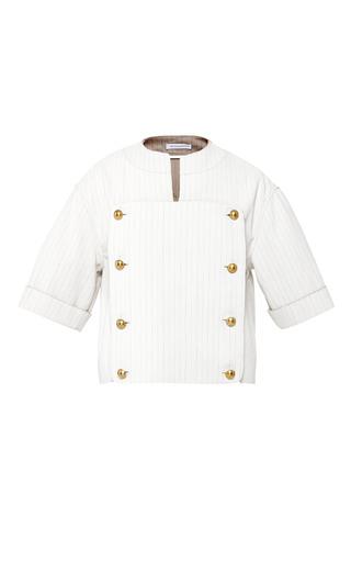 Medium j w anderson multi beige and multi striped double breasted bib shirt