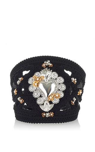 Medium dolce gabbana black sacred heart embroidered suede belt