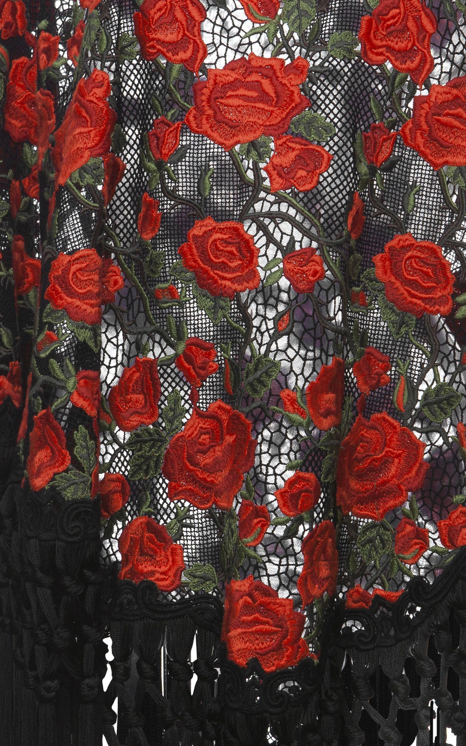 Rose Embroidered Fringe Poncho By Dolce Amp Gabbana Moda