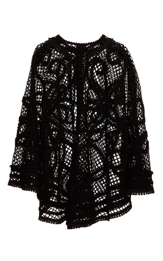 Medium dolce gabbana black nero netted lace cape