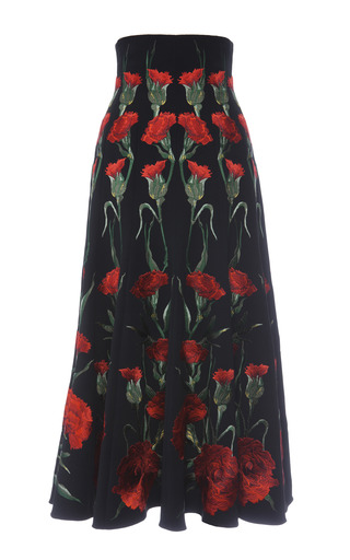 Medium dolce gabbana print stretch cady midi skirt with carnation embroidery