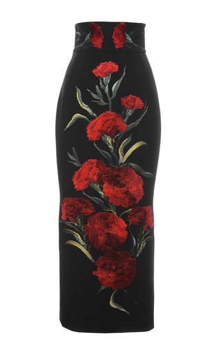 Medium dolce gabbana print carnation embroidered long skirt
