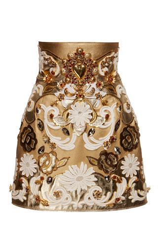 Medium dolce gabbana metallic embroidered metallic leather high waist skirt