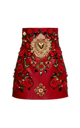 Medium dolce gabbana red rosso embellished leather mini skirt