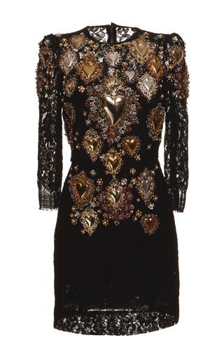 Medium dolce gabbana black sacred heart embellished lace shift dress