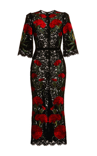 Medium dolce gabbana red carnation embroidered long lace dress