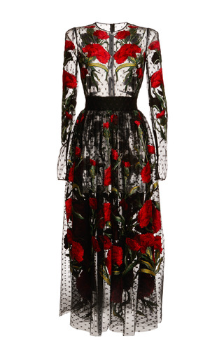 Medium dolce gabbana print dotted tulle carnation embroidered dress