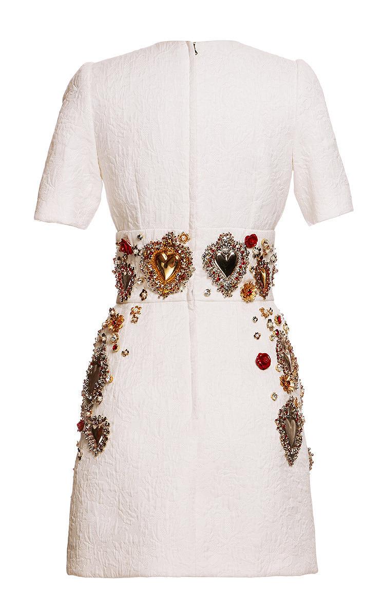 c236dd0e Dolce & GabbanaSacred Heart Embellished Short Sleeve Brocade Dress. CLOSE.  Loading