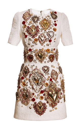 Medium dolce gabbana white sacred heart embellished short sleeve brocade dress