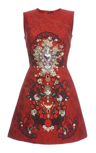 Medium dolce gabbana red sacred heart embellished sleeveless brocade dress