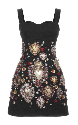 Medium dolce gabbana black sacred heart embellished brocade cocktail dress