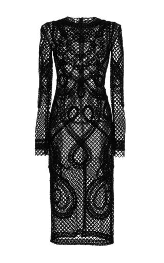 Medium dolce gabbana black long sleeve netted lace sheath dress