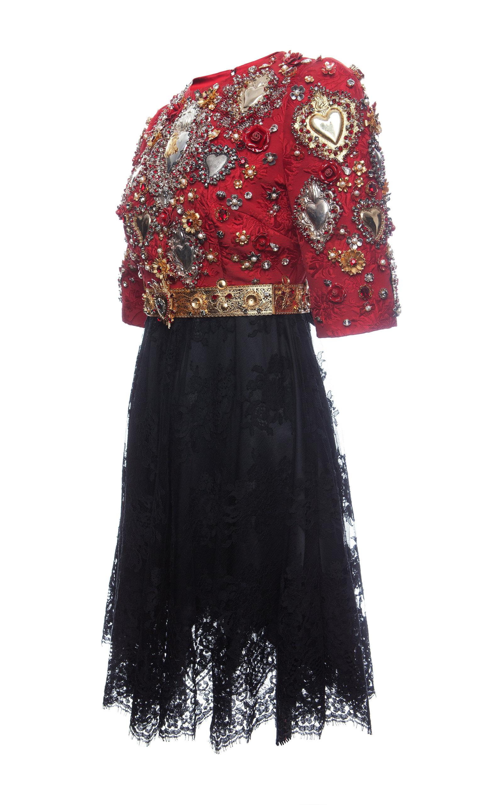 Sacred Heart Embellished Short Sleeve Combo Dress By