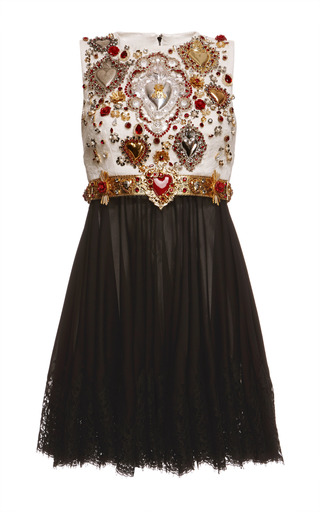 Medium dolce gabbana white sacred heart embellished sleeveless combo dress