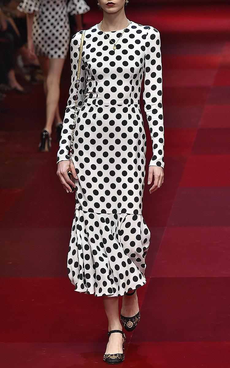 Polka Dot Cady Long Sleeve Dress By Dolce Amp Moda Operandi