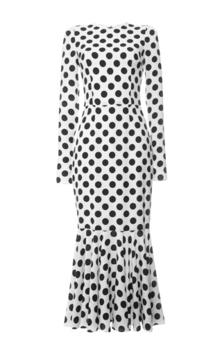 Medium dolce gabbana white polka dot cady long sleeve dress