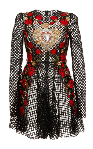 Medium dolce gabbana black netted lace rose embroidered long sleeve dress