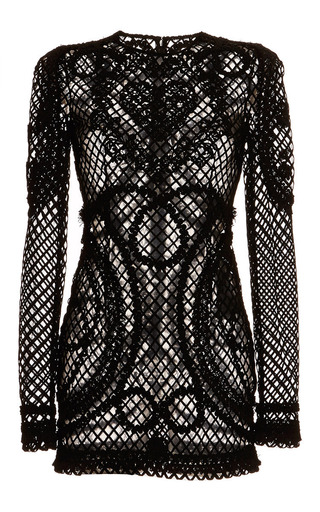 Medium dolce gabbana black nero netted lace long sleeve sheath dress