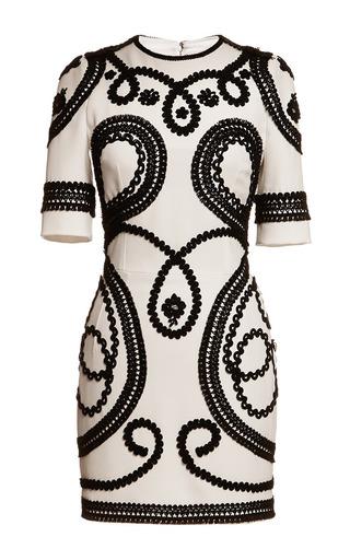 Medium dolce gabbana black white stretch cady mini dress with passementerie trim