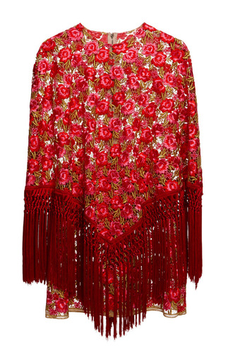 Medium dolce gabbana multi carnation embroidered poncho dress with passementerie fringe