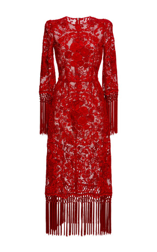 Medium dolce gabbana red rose embroidered netted dress with fringe trim