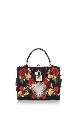 Medium dolce gabbana black sacred heart and carnation embroidered box bag