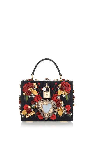 Medium dolce gabbana black sacred heart and carnation embroidered box bag